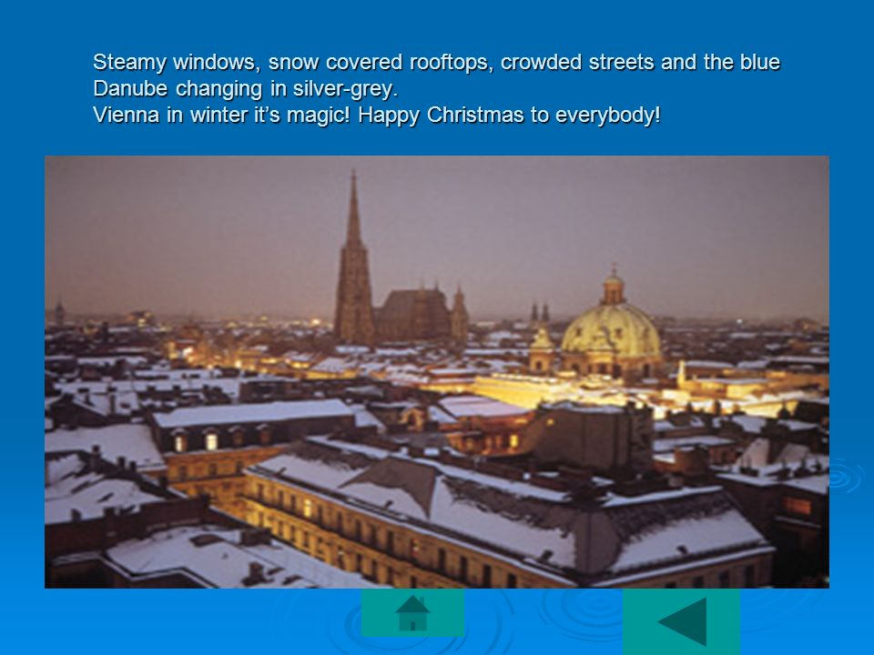 Steamy windows, snow covered rooftops, crowded streets and the blue Danube changing in silver-grey.