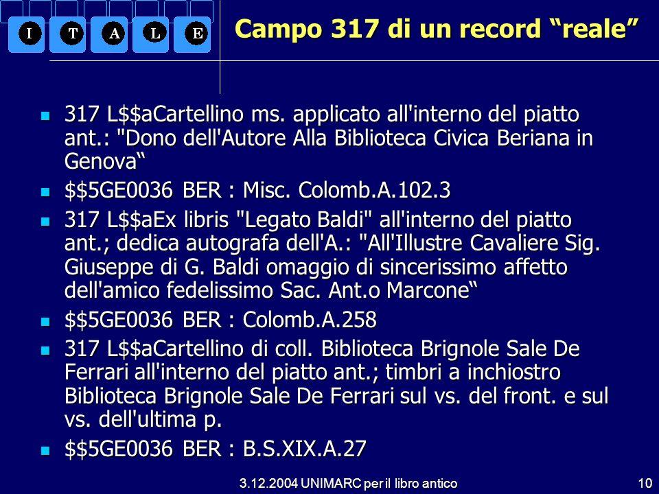 Campo 317 di un record reale