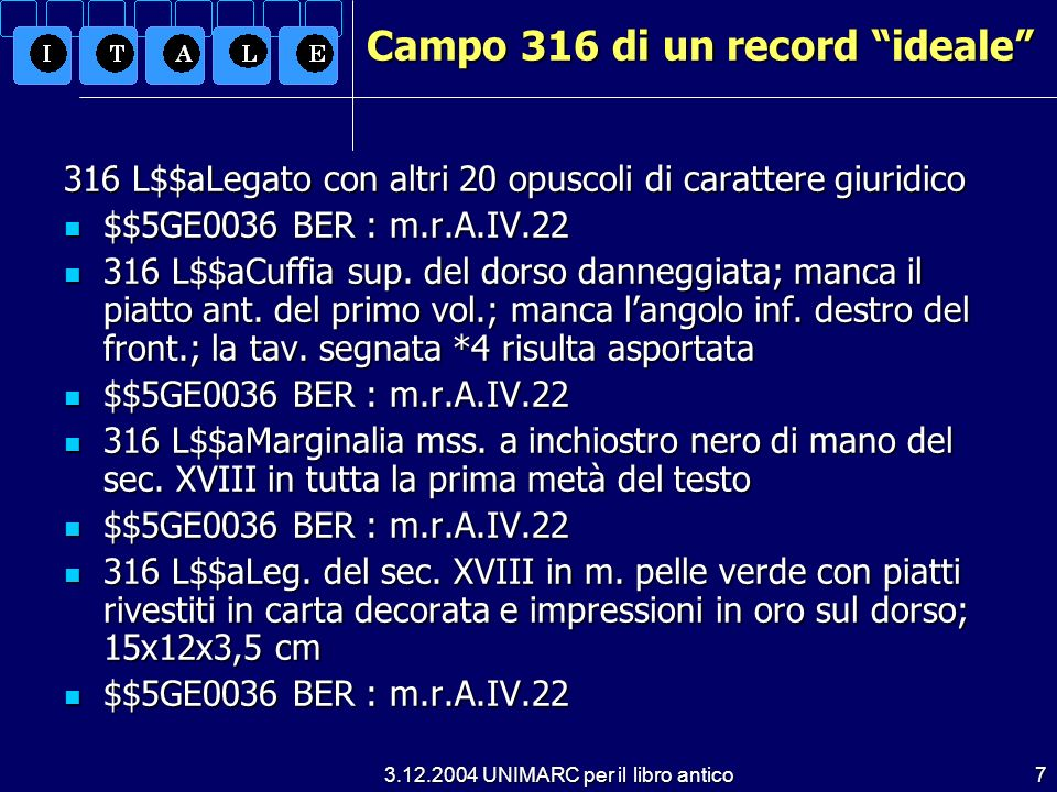 Campo 316 di un record ideale