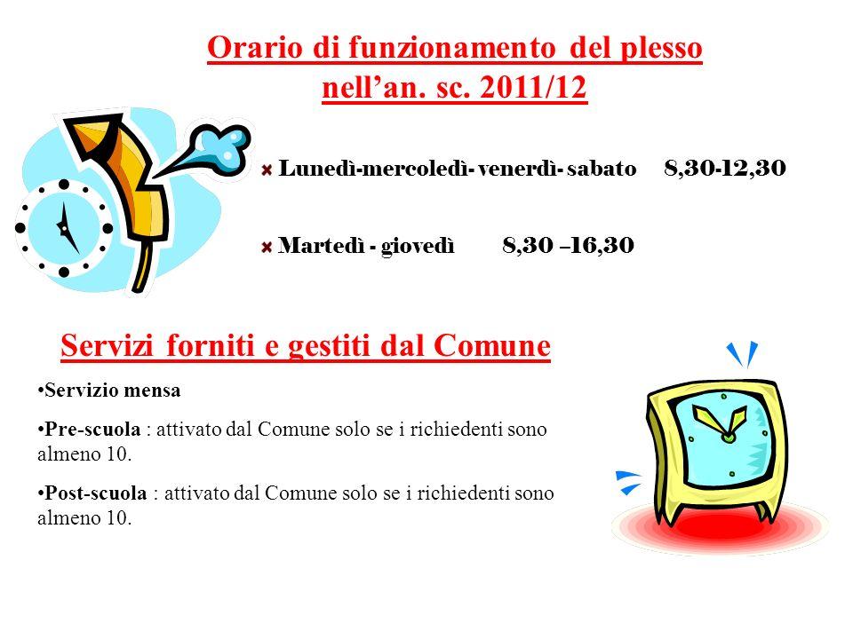 Orario di funzionamento del plesso nell'an. sc. 2011/12