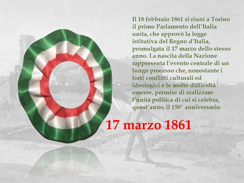 Il 18 febbraio 1861 si riunì a Torino il primo Parlamento dell'Italia unita, che approvò la legge istitutiva del Regno d'Italia, promulgata il 17 marzo dello stesso anno. La nascita della Nazione rappresenta l'evento centrale di un lungo processo che, nonostante i forti conflitti culturali ed ideologici e le molte difficoltà emerse, permise di realizzare l'unità politica di cui si celebra, quest'anno, il 150° anniversario.