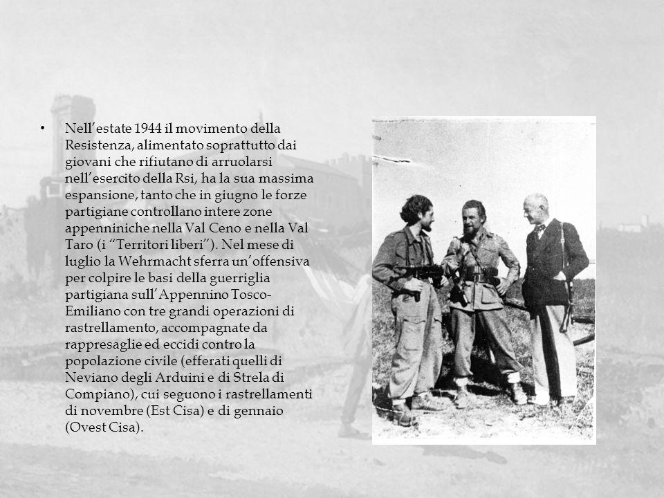 Nell'estate 1944 il movimento della Resistenza, alimentato soprattutto dai giovani che rifiutano di arruolarsi nell'esercito della Rsi, ha la sua massima espansione, tanto che in giugno le forze partigiane controllano intere zone appenniniche nella Val Ceno e nella Val Taro (i Territori liberi ).