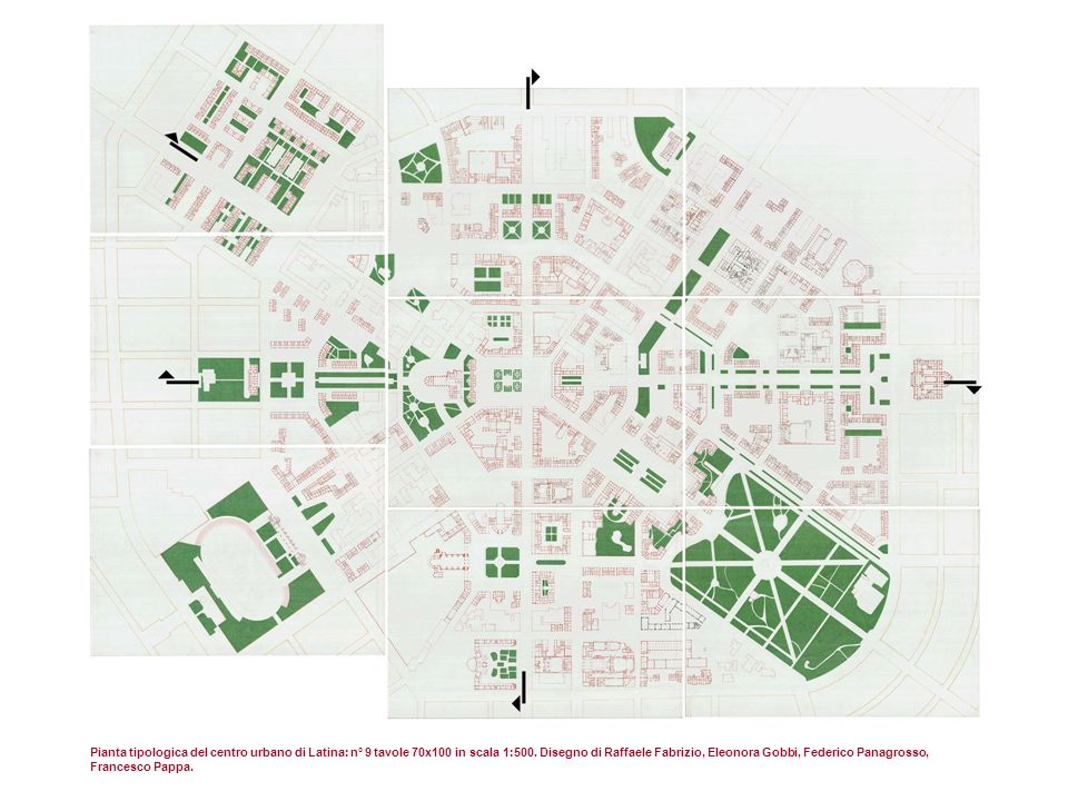 Pianta tipologica del centro urbano di Latina: n° 9 tavole 70x100 in scala 1:500.