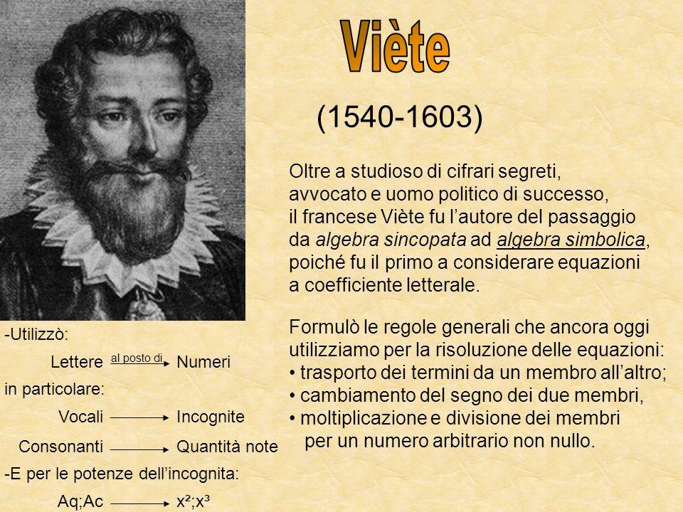 Viète (1540-1603) Oltre a studioso di cifrari segreti,