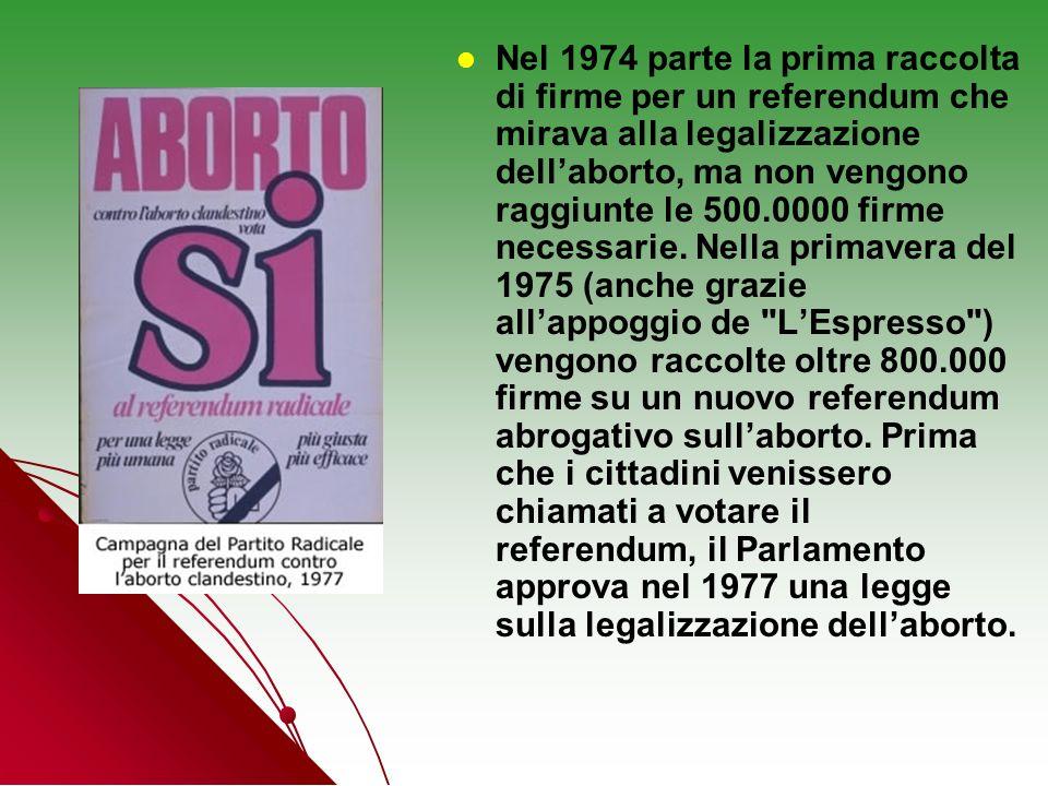 Nel 1974 parte la prima raccolta di firme per un referendum che mirava alla legalizzazione dell'aborto, ma non vengono raggiunte le 500.0000 firme necessarie.
