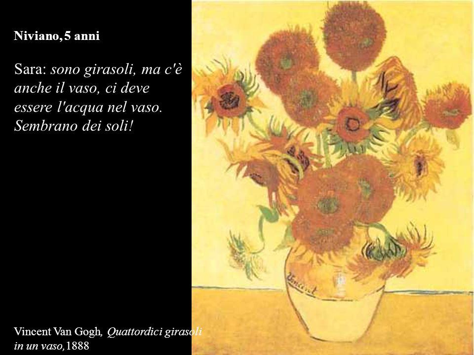 Niviano, 5 anni Sara: sono girasoli, ma c è anche il vaso, ci deve essere l acqua nel vaso. Sembrano dei soli!