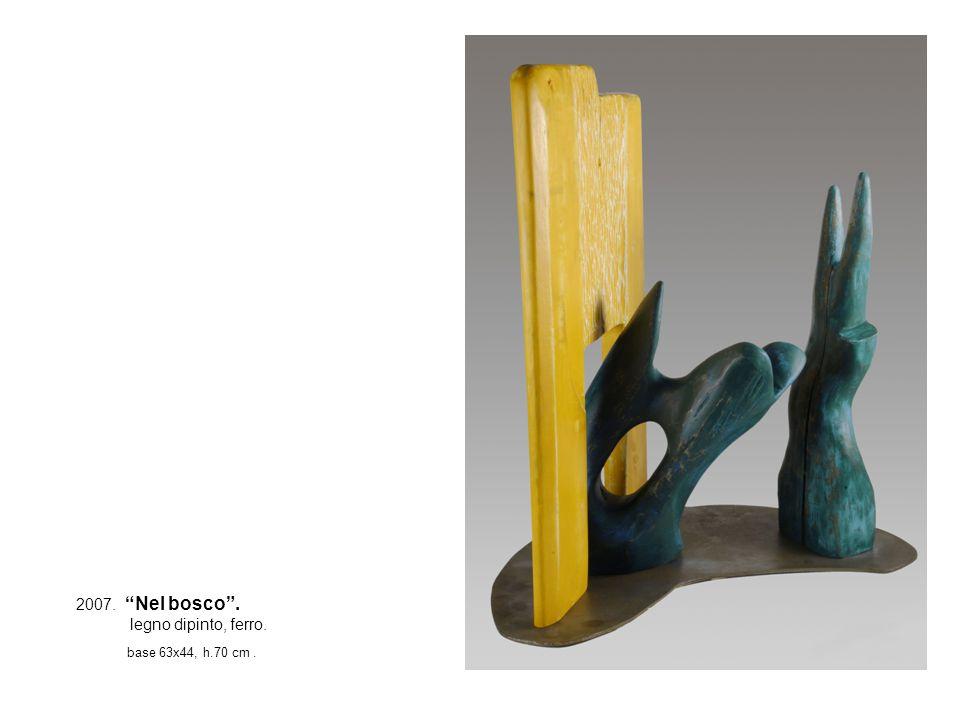 2007. Nel bosco . legno dipinto, ferro. base 63x44, h.70 cm .