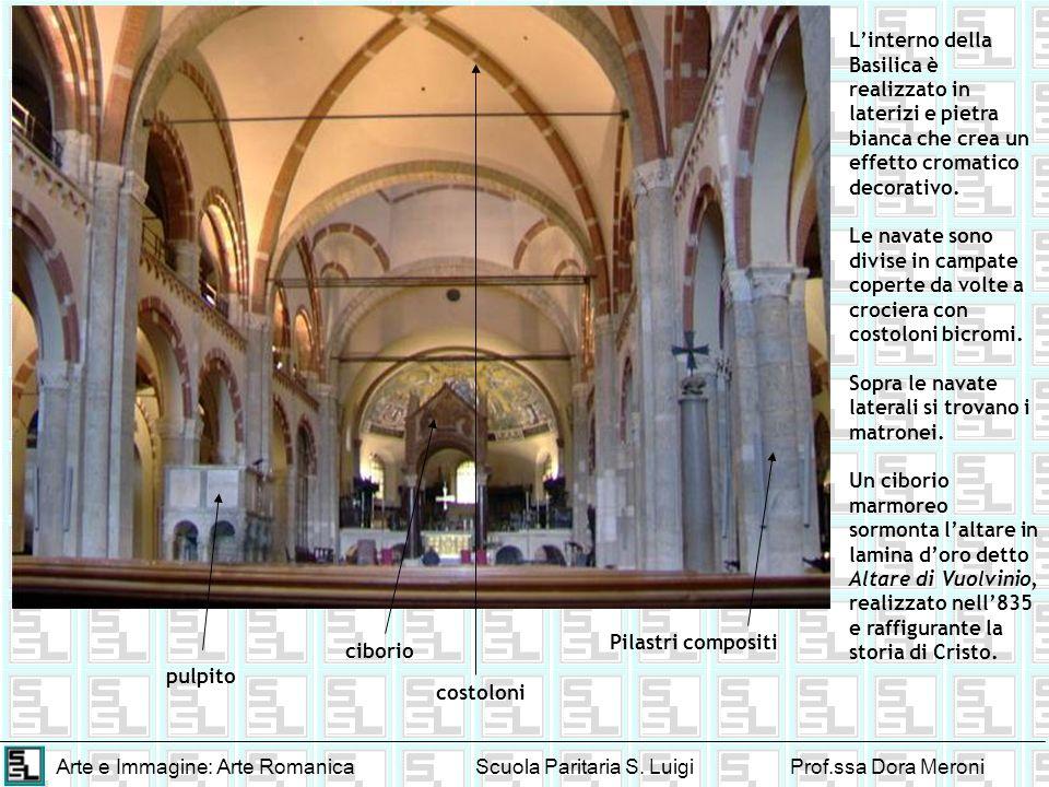 L'interno della Basilica è realizzato in laterizi e pietra bianca che crea un effetto cromatico decorativo.