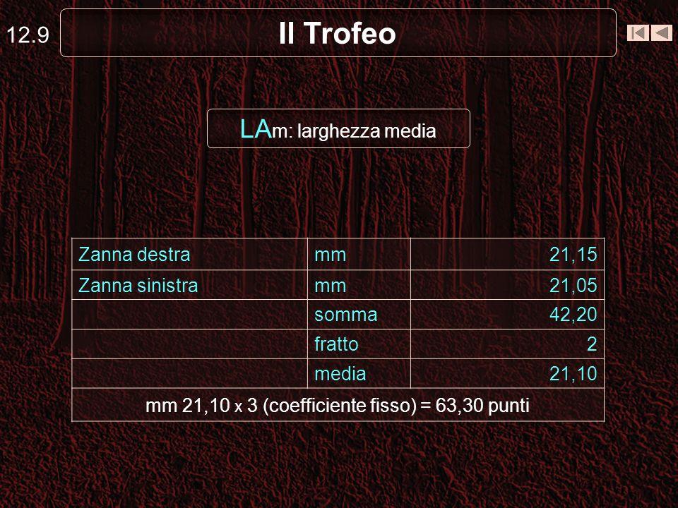 mm 21,10 x 3 (coefficiente fisso) = 63,30 punti