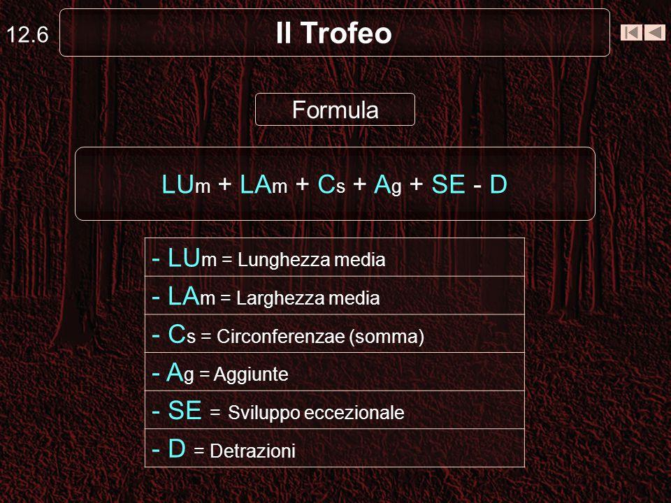 Il Trofeo - LUm = Lunghezza media - LAm = Larghezza media