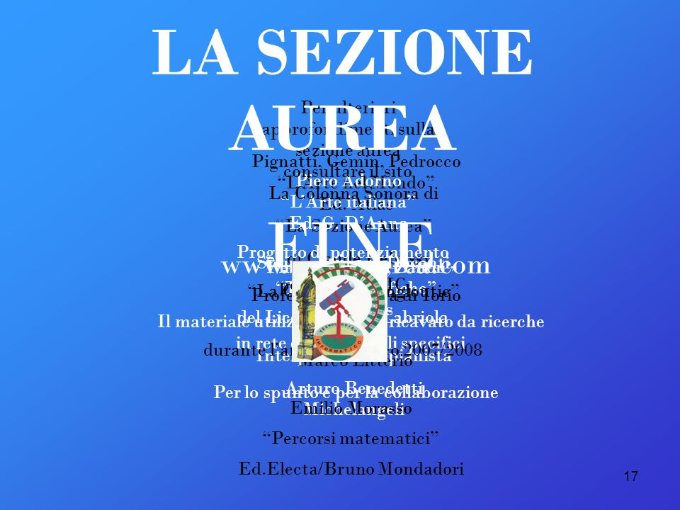 LA SEZIONE AUREA FINE www.sectioaurea.com