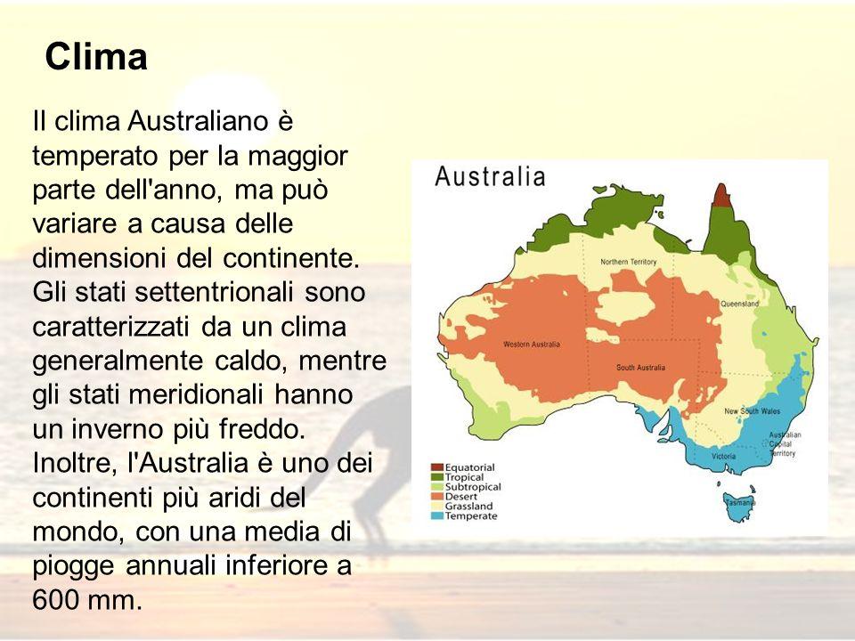 Clima Il clima Australiano è temperato per la maggior parte dell anno, ma può variare a causa delle dimensioni del continente.