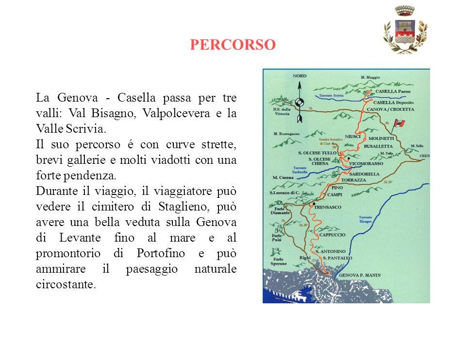 PERCORSO La Genova - Casella passa per tre valli: Val Bisagno, Valpolcevera e la Valle Scrivia.
