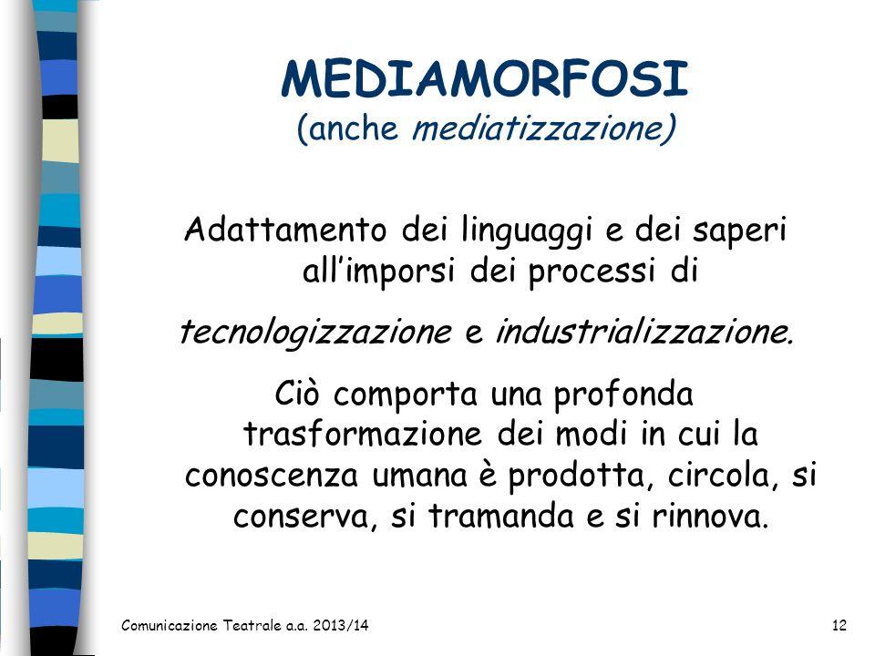 MEDIAMORFOSI (anche mediatizzazione)