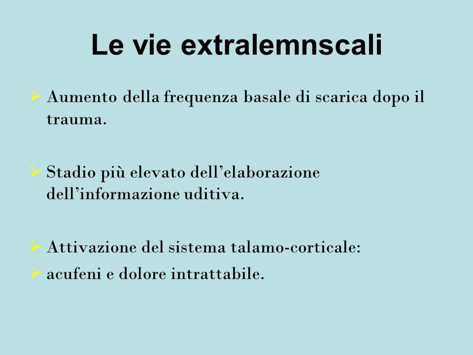 Le vie extralemnscali Aumento della frequenza basale di scarica dopo il trauma. Stadio più elevato dell'elaborazione dell'informazione uditiva.
