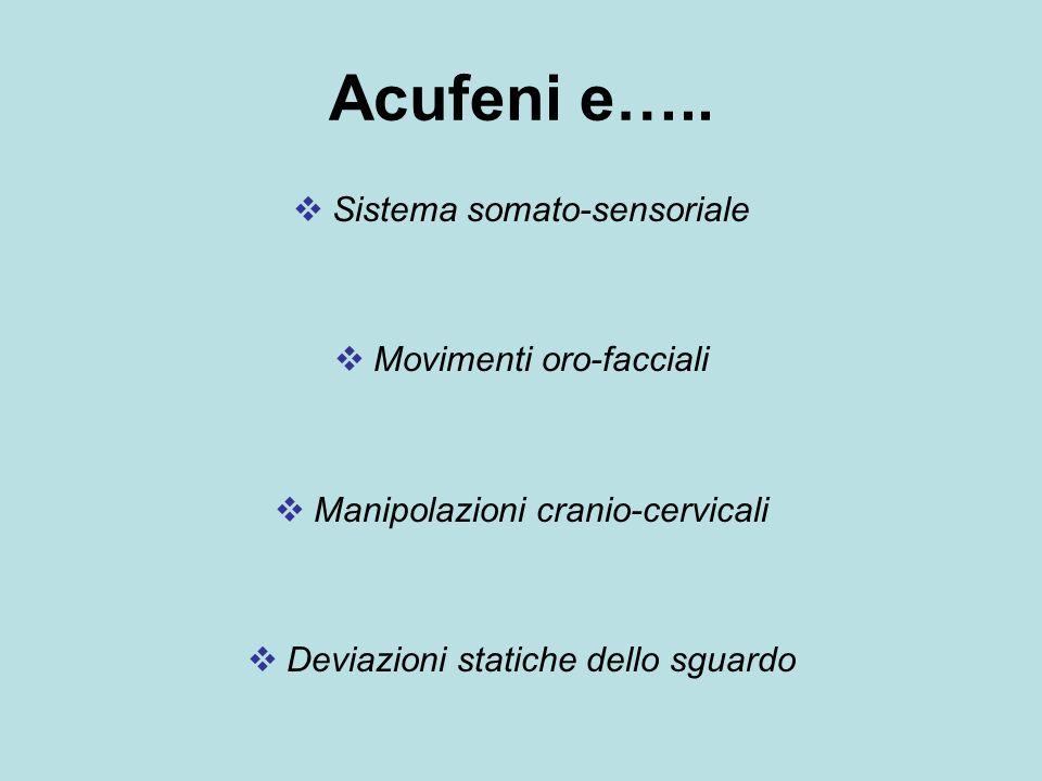 Acufeni e….. Sistema somato-sensoriale Movimenti oro-facciali