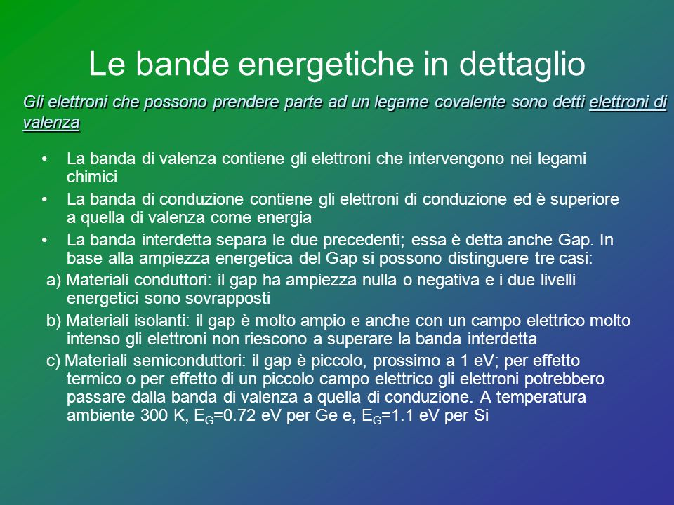 Le bande energetiche in dettaglio
