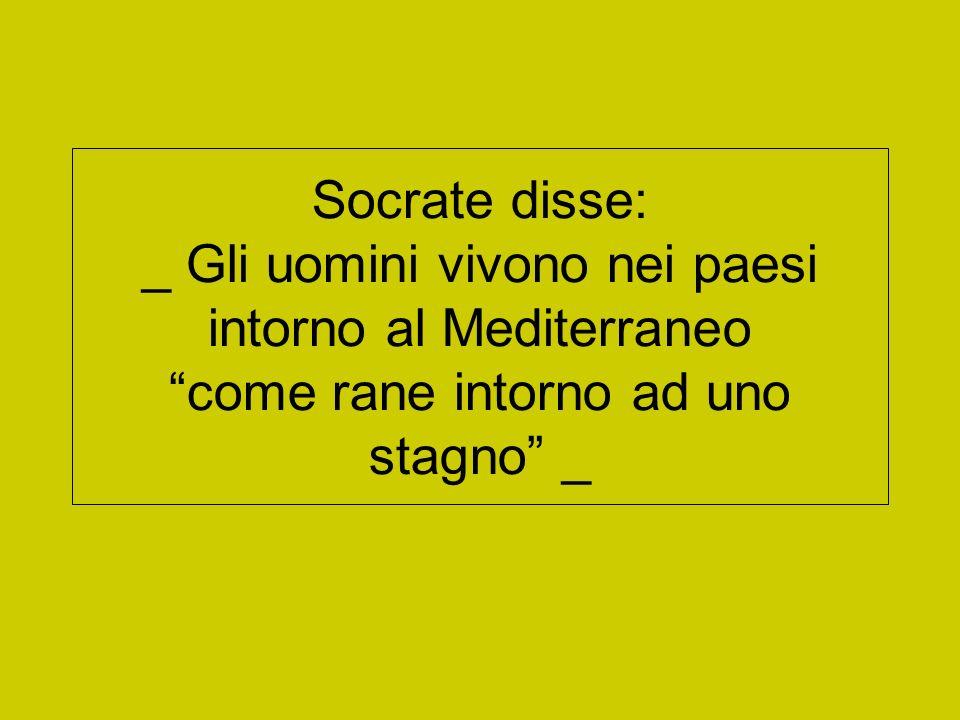 Socrate disse: _ Gli uomini vivono nei paesi intorno al Mediterraneo come rane intorno ad uno stagno _