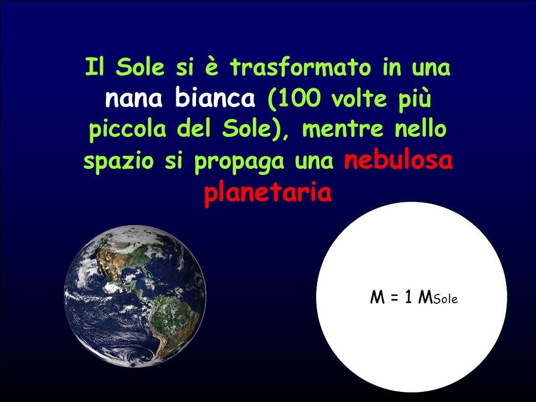 Il Sole si è trasformato in una nana bianca (100 volte più piccola del Sole), mentre nello spazio si propaga una nebulosa planetaria