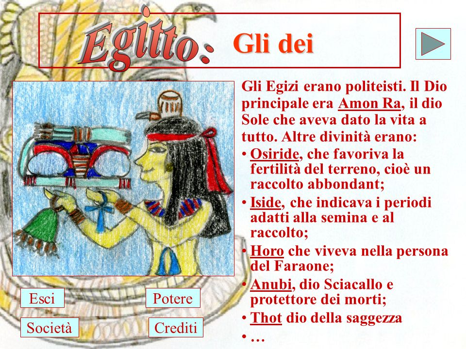 Egitto: Gli dei. Gli Egizi erano politeisti. Il Dio principale era Amon Ra, il dio Sole che aveva dato la vita a tutto. Altre divinità erano: