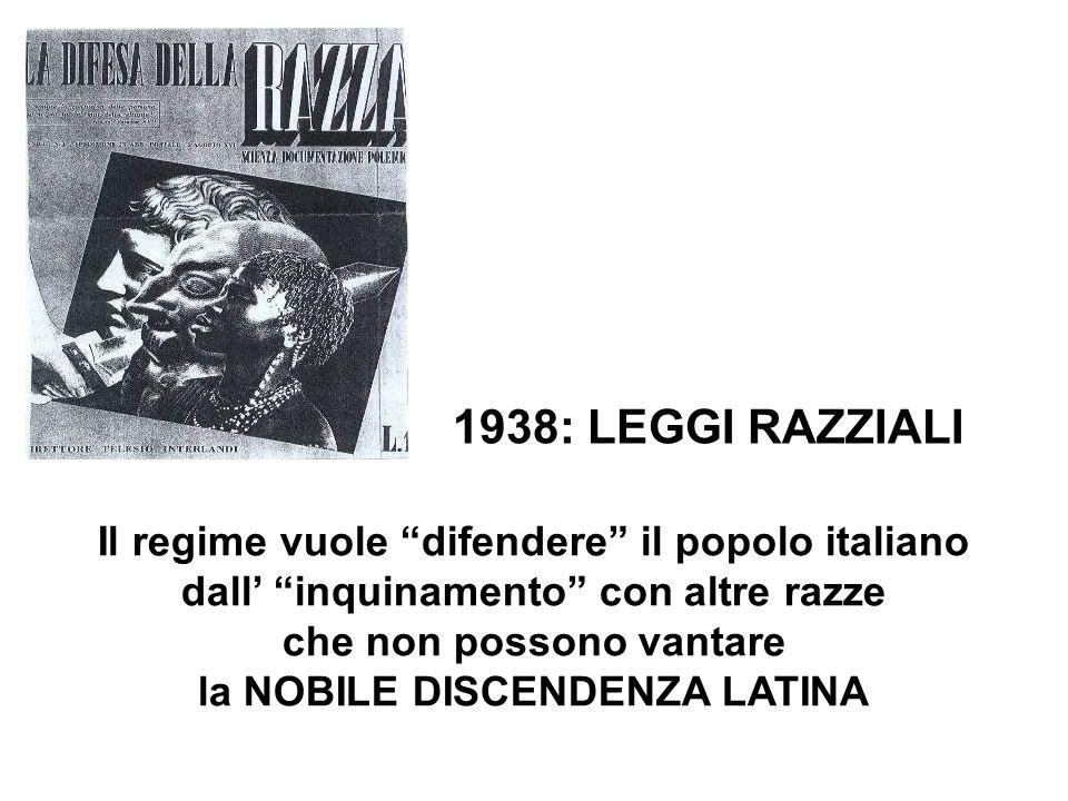 1938: LEGGI RAZZIALI Il regime vuole difendere il popolo italiano