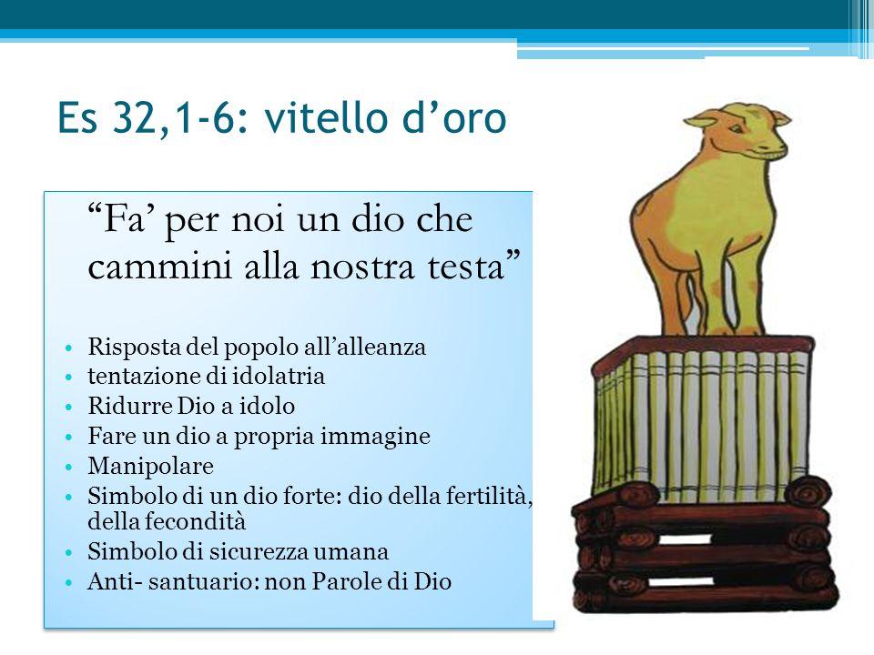 Es 32,1-6: vitello d'oro Fa' per noi un dio che cammini alla nostra testa Risposta del popolo all'alleanza.