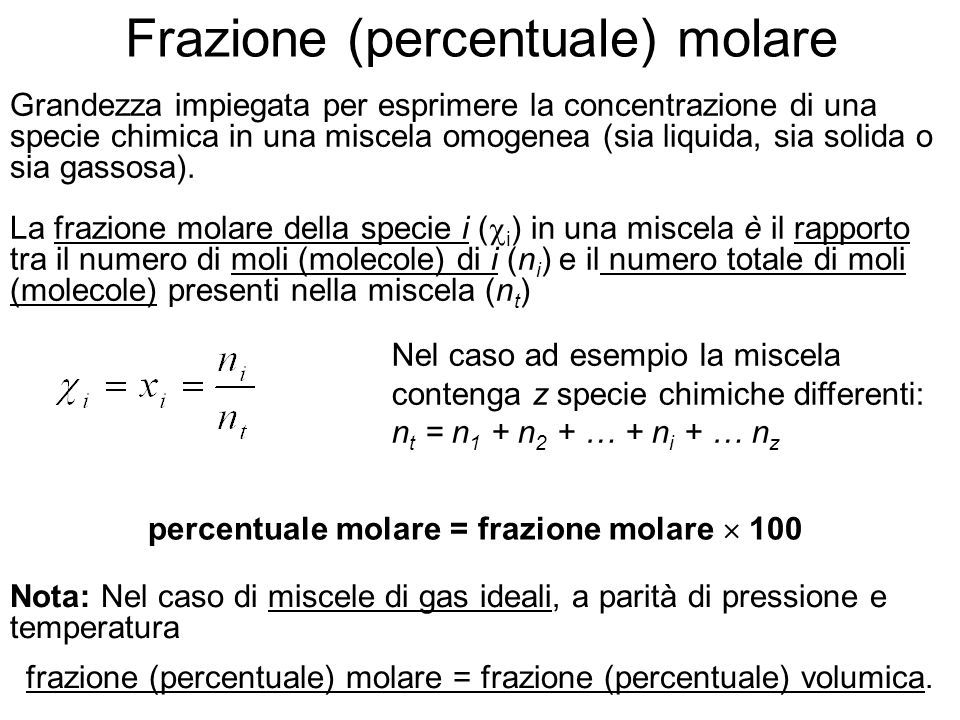 Frazione (percentuale) molare
