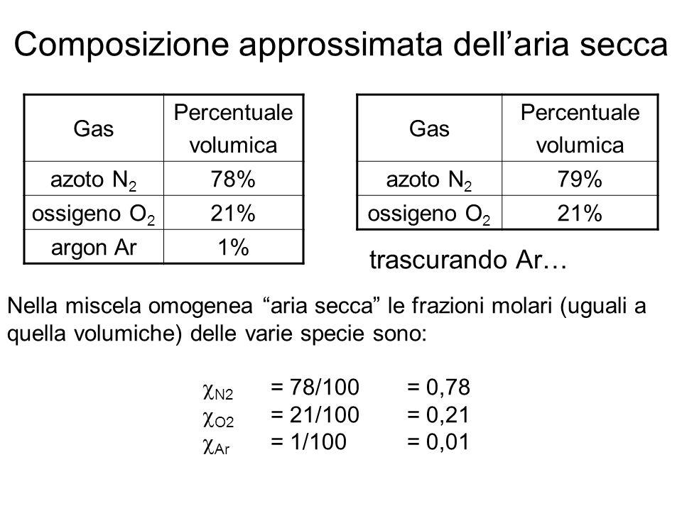 Composizione approssimata dell'aria secca