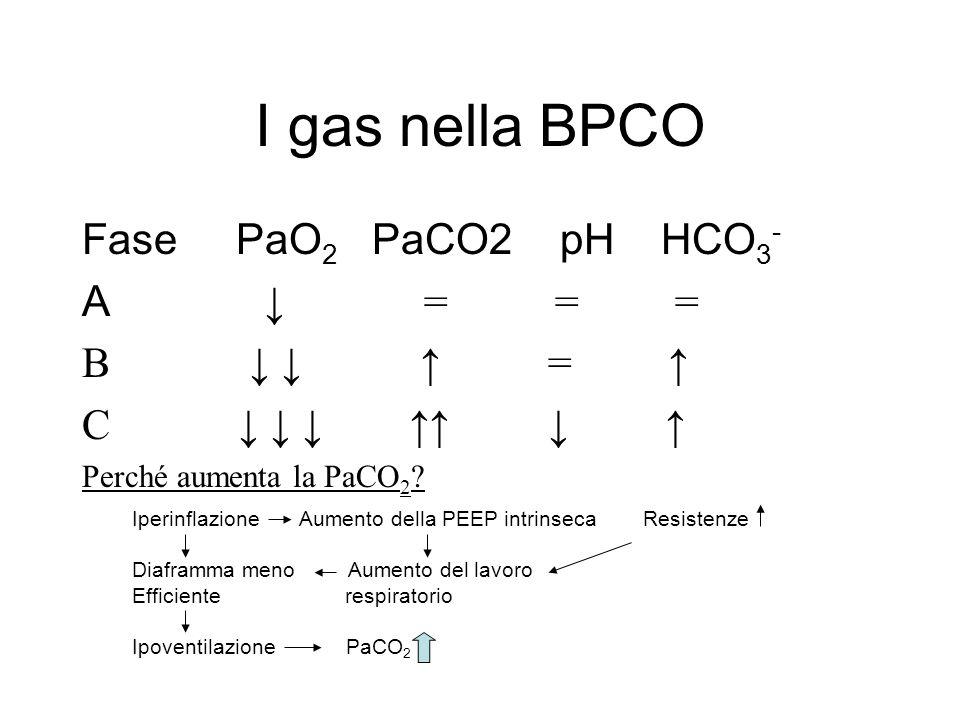 I gas nella BPCO Fase PaO2 PaCO2 pH HCO3- A ↓ = = = B ↓ ↓ ↑ = ↑