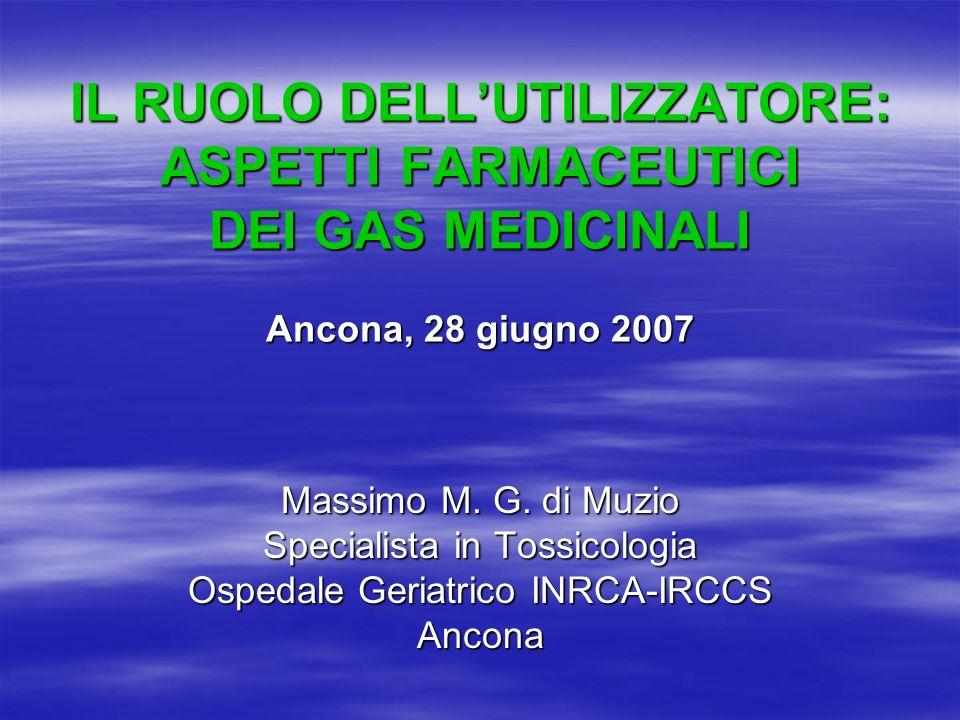 IL RUOLO DELL'UTILIZZATORE: ASPETTI FARMACEUTICI DEI GAS MEDICINALI Ancona, 28 giugno 2007