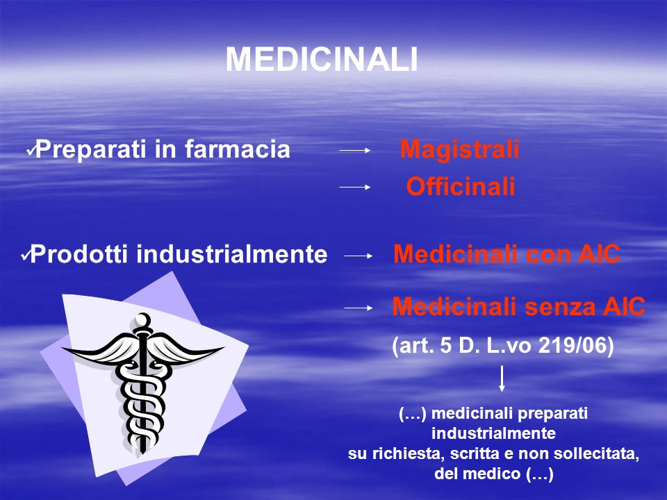 MEDICINALI Preparati in farmacia Magistrali Officinali