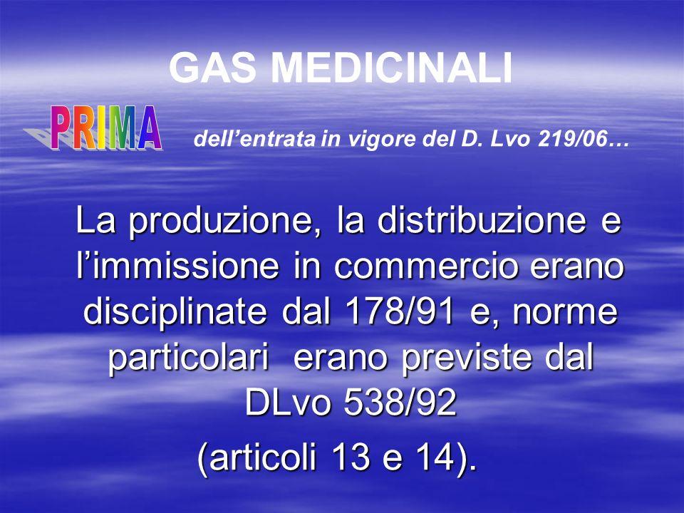 GAS MEDICINALI PRIMA. dell'entrata in vigore del D. Lvo 219/06…