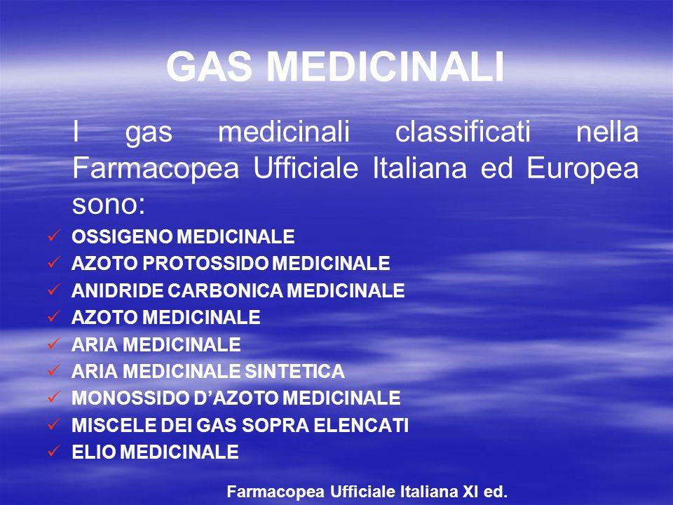GAS MEDICINALI I gas medicinali classificati nella Farmacopea Ufficiale Italiana ed Europea sono: OSSIGENO MEDICINALE.