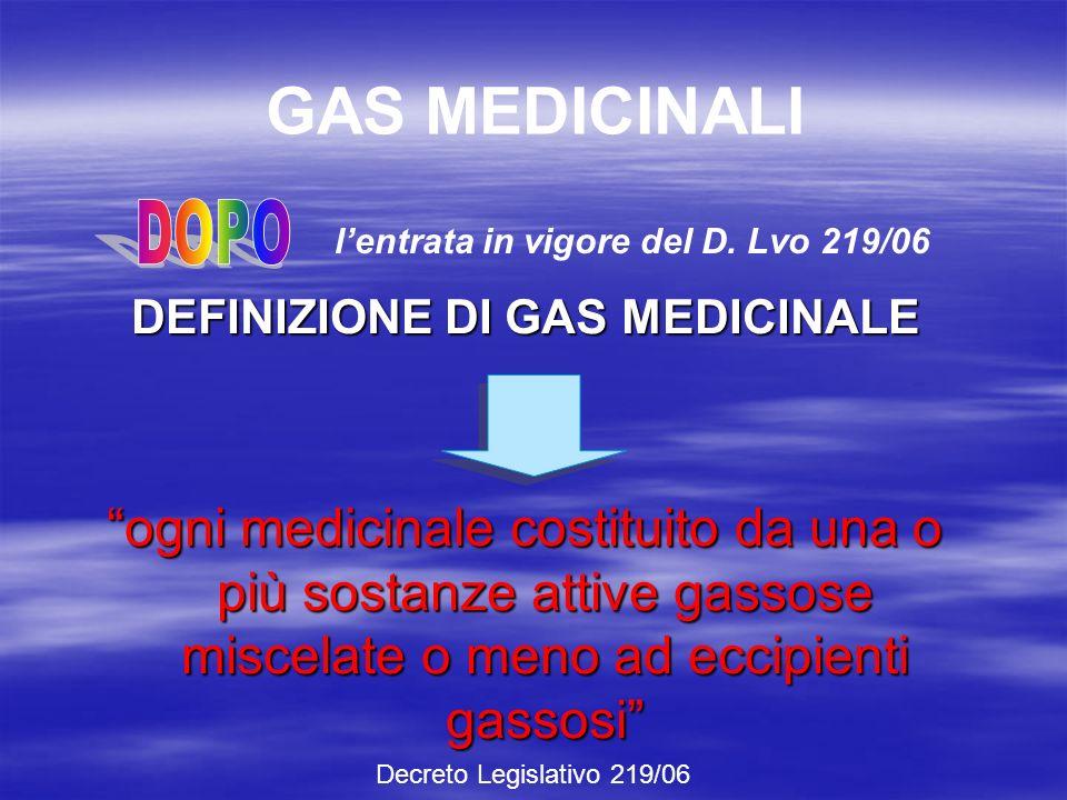 DEFINIZIONE DI GAS MEDICINALE