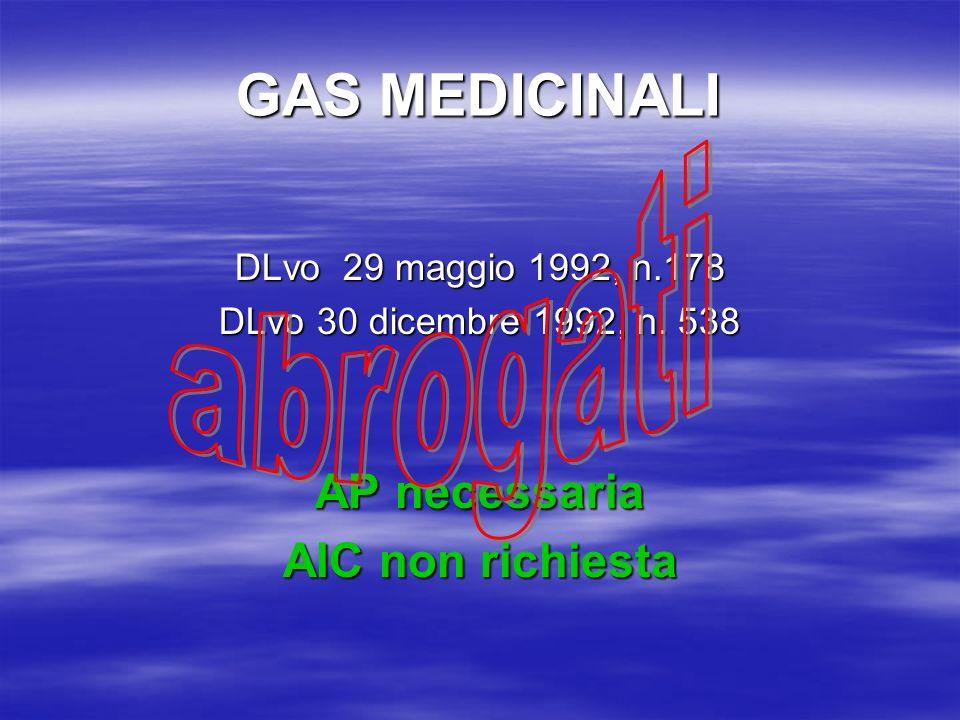 GAS MEDICINALI abrogati AP necessaria AIC non richiesta