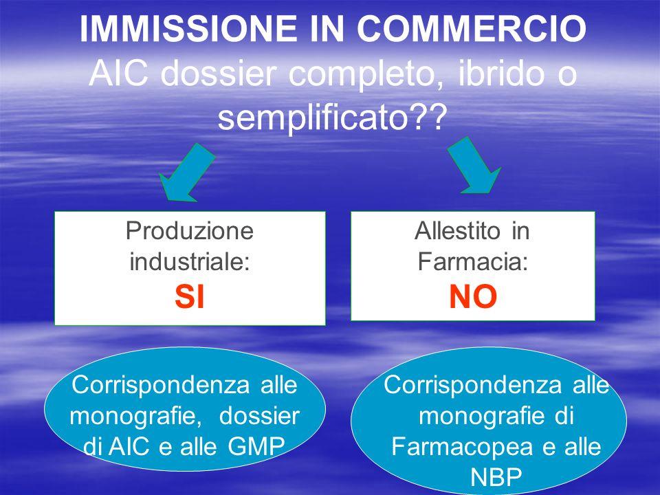 IMMISSIONE IN COMMERCIO AIC dossier completo, ibrido o semplificato