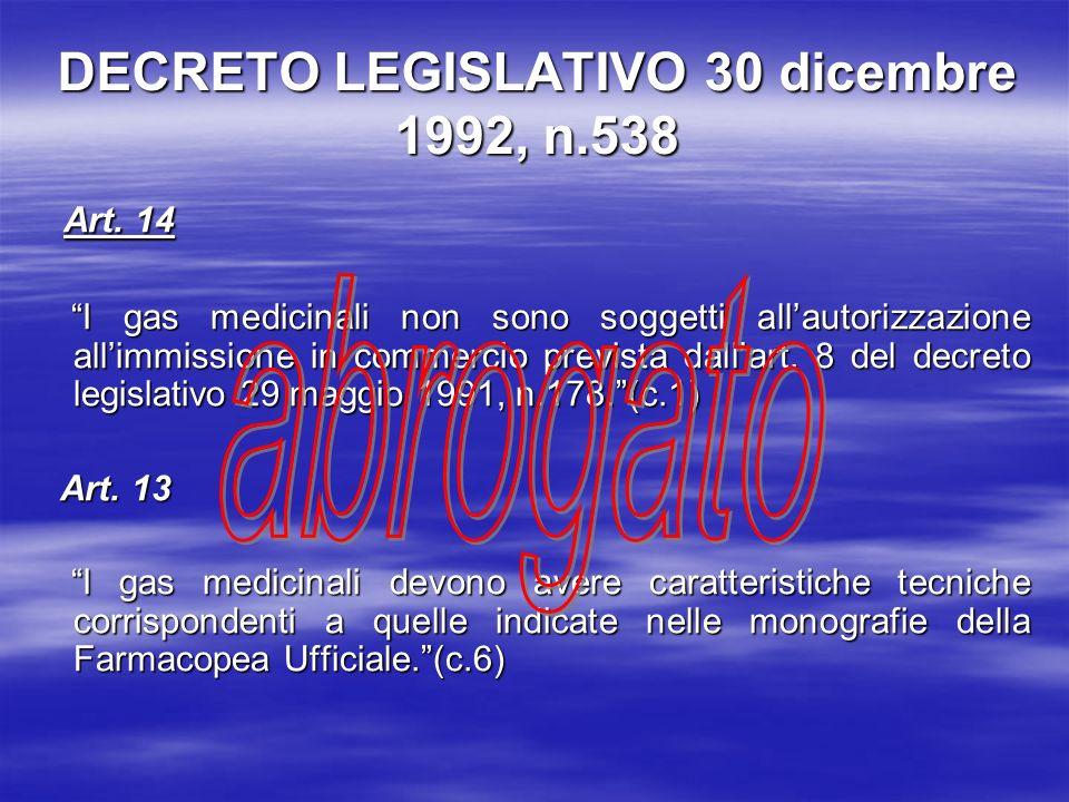 DECRETO LEGISLATIVO 30 dicembre 1992, n.538