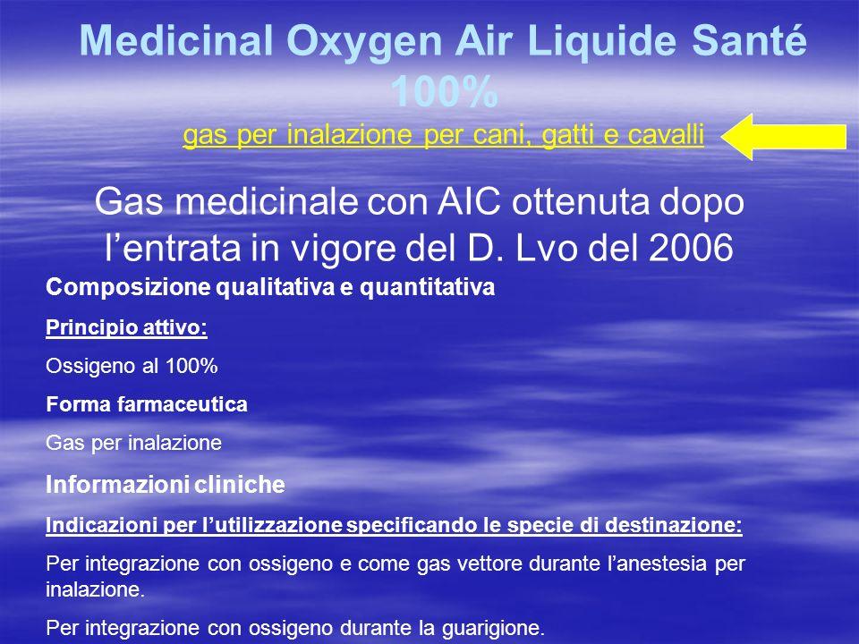 Medicinal Oxygen Air Liquide Santé 100% gas per inalazione per cani, gatti e cavalli