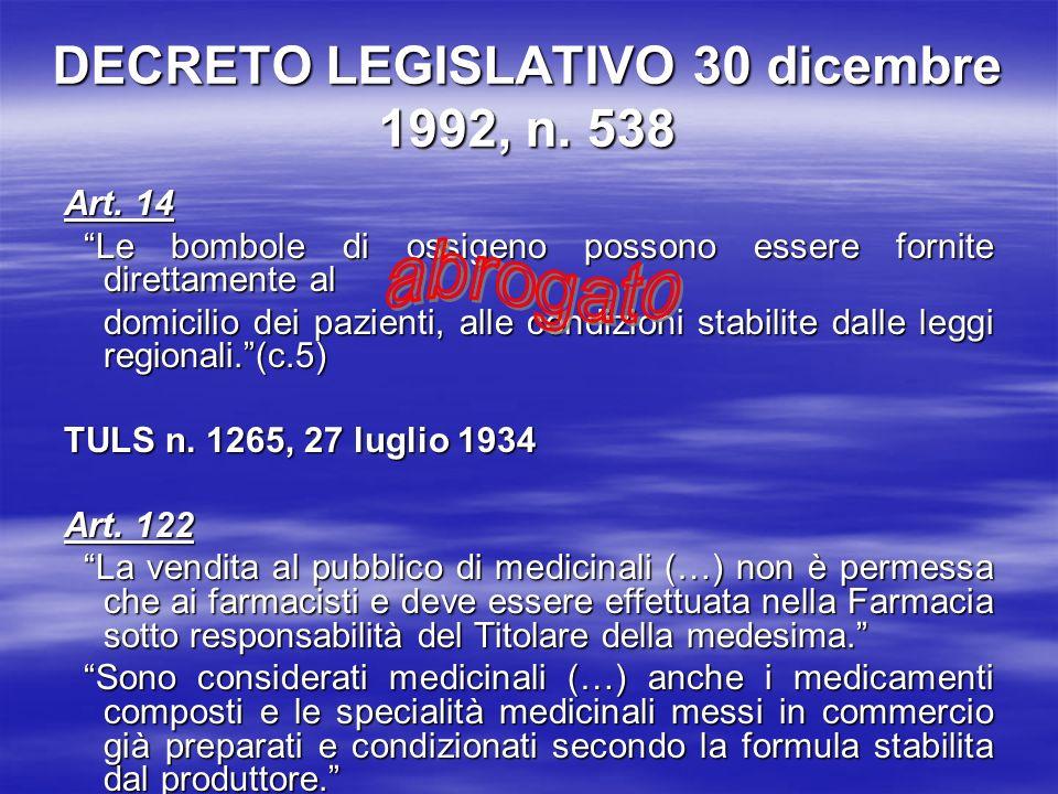 DECRETO LEGISLATIVO 30 dicembre 1992, n. 538