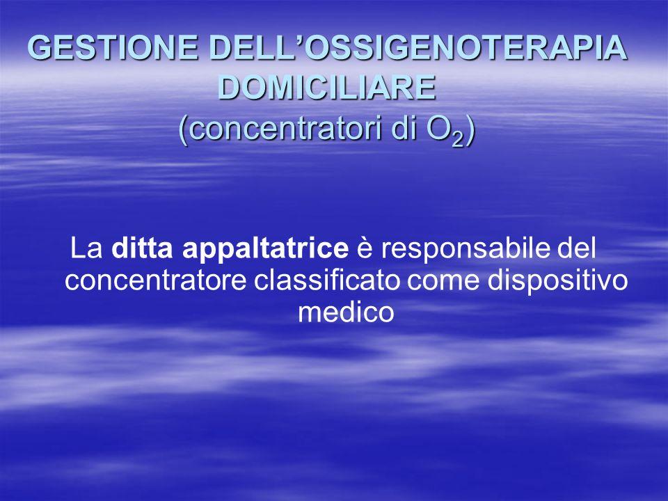 GESTIONE DELL'OSSIGENOTERAPIA DOMICILIARE (concentratori di O2)
