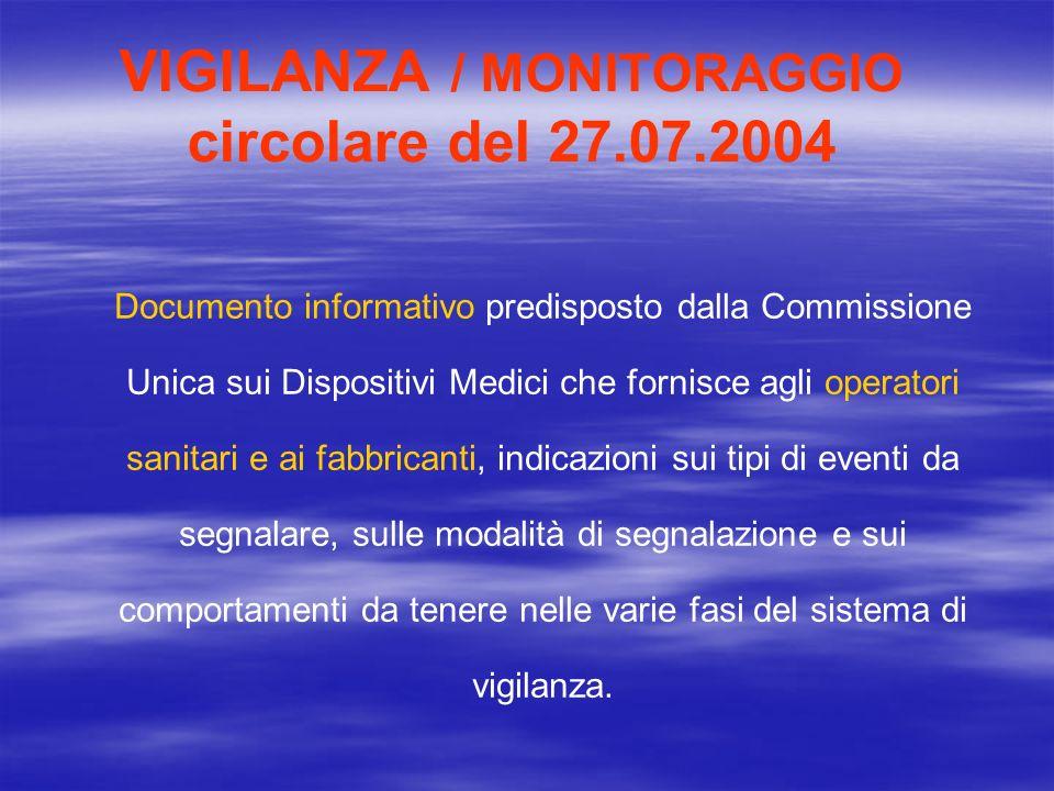 VIGILANZA / MONITORAGGIO circolare del 27.07.2004