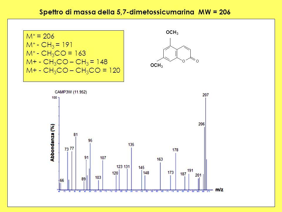 Spettro di massa della 5,7-dimetossicumarina MW = 206