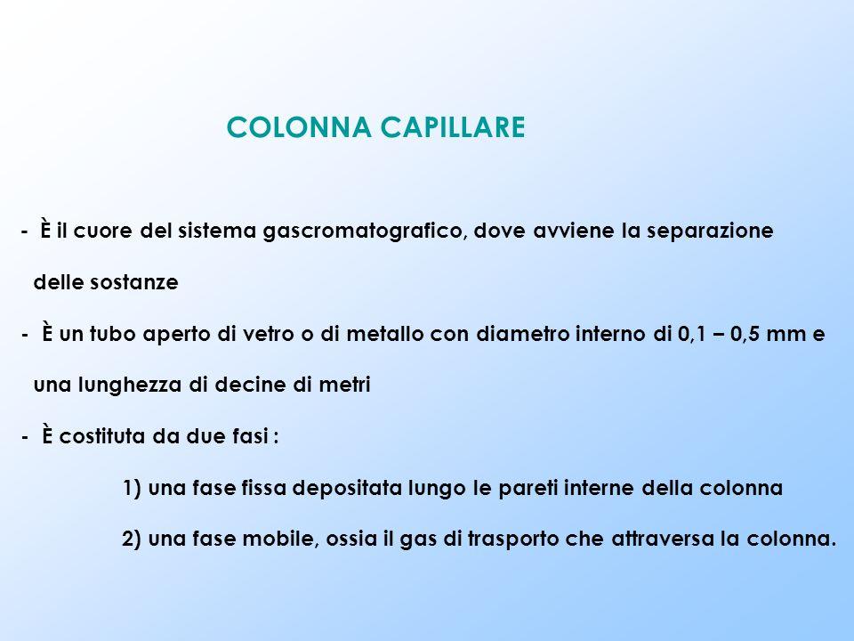 COLONNA CAPILLARE - È il cuore del sistema gascromatografico, dove avviene la separazione. delle sostanze.