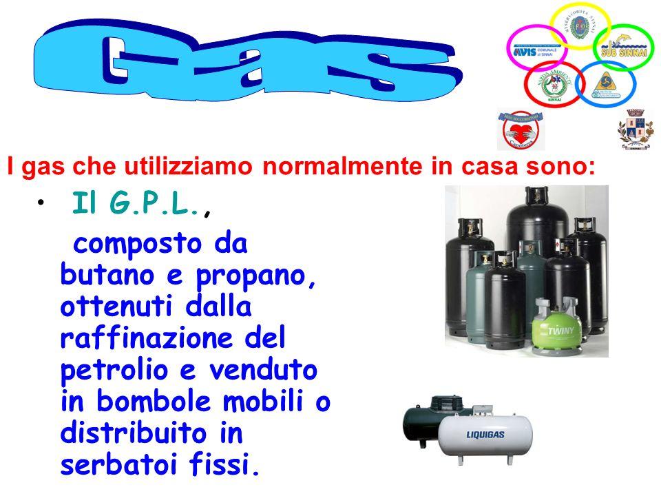 Gas I gas che utilizziamo normalmente in casa sono: Il G.P.L.,