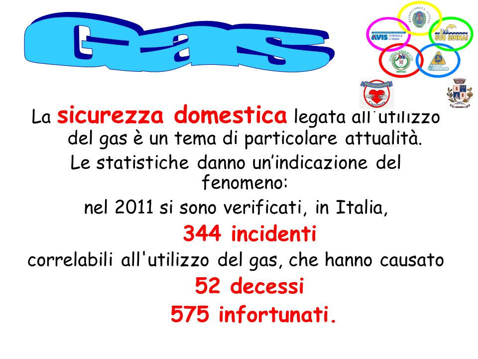 Gas 344 incidenti 52 decessi 575 infortunati.