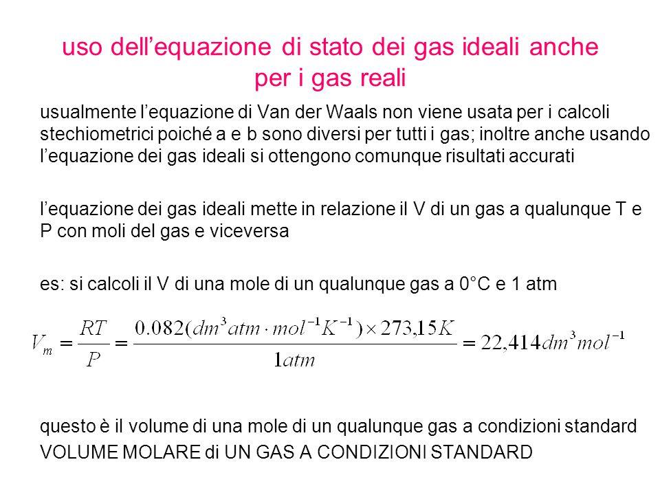 uso dell'equazione di stato dei gas ideali anche per i gas reali