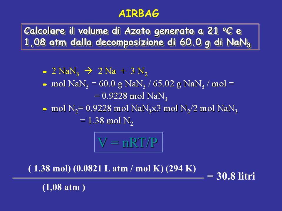 AIRBAG Calcolare il volume di Azoto generato a 21 oC e 1,08 atm dalla decomposizione di 60.0 g di NaN3.