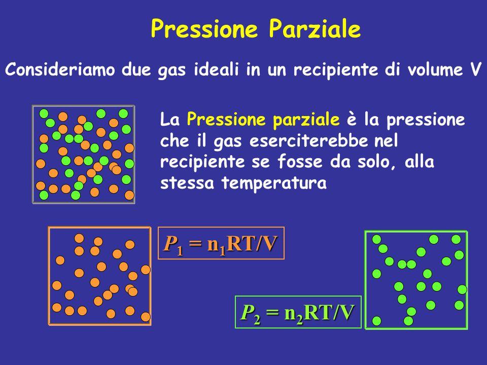 Pressione Parziale P1 = n1RT/V P2 = n2RT/V