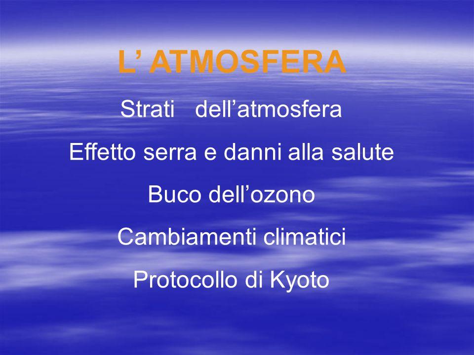 L' ATMOSFERA Strati dell'atmosfera Effetto serra e danni alla salute