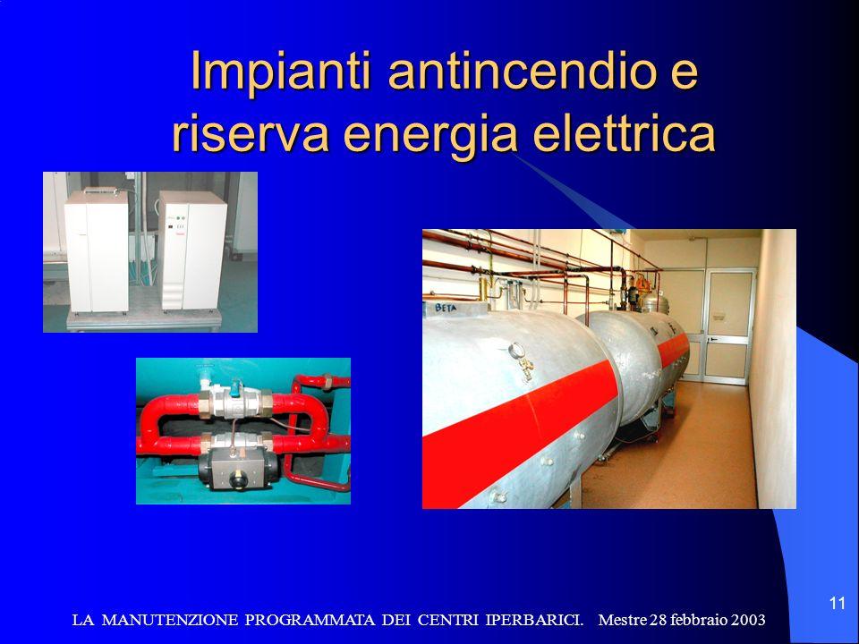 Impianti antincendio e riserva energia elettrica